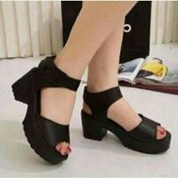 sandal wedges docmart hitam sepatu sandal kado wanita bagus murah