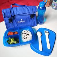 Lunch box set DENGAN TAS tempat bekal kotak makan sekolah kerja bagus