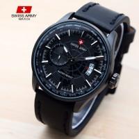 jam tangan SWISS ARMY PRIA RADAR BLACK KULIT TANGGAL DETIK PISAH