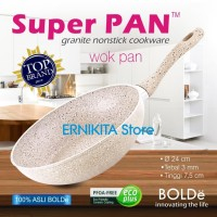 SUPER PAN BOLDe | WOK PAN 24 CM GRANITE COATING | FREE BUBBLE