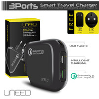 UNEED SMART TRAVEL CHARGER QUALCOMM QUICK CHARGE 3.0 3 PORT