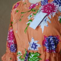 daster wanita panjang gamis bumil motif bunga ceria bahan rayon