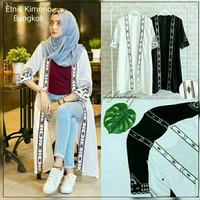 Cardi Etnik Kimono Baju Wanita Cardigan Outer Vest Bordir Hitam Putih