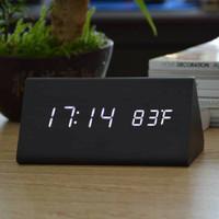 Jam Waker Kayu Segitiga 909 / LED Digital Wood Clock - 909