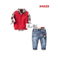 STELAN ANAK 3IN1 KEMEJA KOTAK + VEST MERAH + PANTS (8-13T)  RSBY-4029