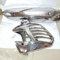 Cover Tutup Radiator Dan Cover Knalpot Aerox 155 Chrome Anti Buram