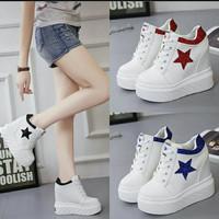 sepatu sneakers putih high wedges platform round toe ala korea