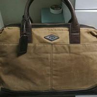 Fossil Man Wyatt Workbag (Laptop Bag) Original Brown Canvass Leather