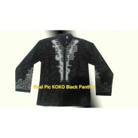 Baju koko Black Panther full bordir baju koko superheroes warna hitam