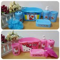 Bathset Doraemon Set Alat Mandi Shower Puff Tempat Sikat Gigi Sabun