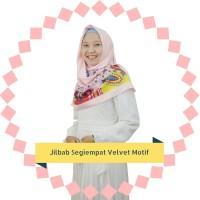 Jilbab Kerudung Hijab Square Segi Empat Satin Velvet Import Motif