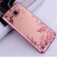 Casing Samsung Galaxy C9 PRO Flower Bling Diamond Case Silicon Soft