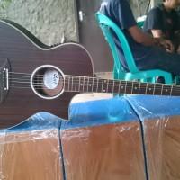 gitar akustik elektrik Cort coklat Doff
