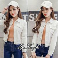 xl jumbo bigsize jaket putih white polos baju outer wanita jeans denim
