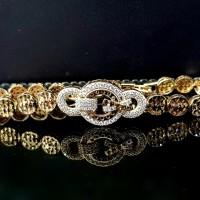 Gelang Rantai Zircon Simple Chain Bracelet Round - Gold