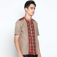 Batik Distro K8076 Kemeja Pria Koko Bordir - Coklat