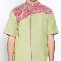 Batik Distro K8070 Kemeja Pria Koko Bordir - Hijau