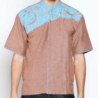 Batik Distro K8067 Kemeja Pria Koko Bordir - Coklat