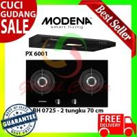 Paket Hemat Modena Kompor Tanam BH 0725 Dan Cooker Hood Slim PX 6001