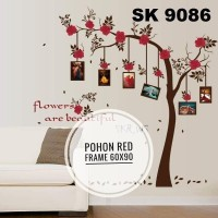 wall sticker 60x90 pohon red frame