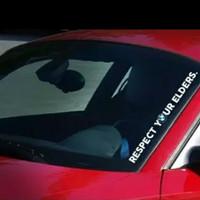 Sticker BMW Respect Your Elders Vertikal Ukuran 60cm x 5cm