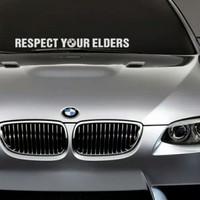 Sticker BMW Respect Your Elders Horizontal Ukuran 60cm x 5cm