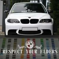 Sticker BMW Respect Your Elders Horizontal Ukuran 55cm x 10cm