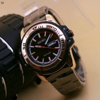 Jam Tangan Pria Seiko Stainless Black Gold Premium