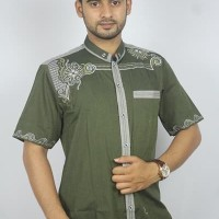 Promo Baju koko Pria Casual Busana Muslim bordir pria Kode AD132 Hijau
