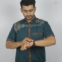 Promo Baju koko Pria Casual Busana Muslim bordir pria Kode AD132 Tosca