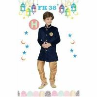 Set Kemeja Koko dan Celana Baju Anak Import Koko Kids FK H Navy Gold .