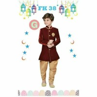 Setelan Kemeja Koko Celana Import Muslim Baju Koko Kids FK G Red Gold