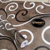 Wavy Hitam & Putih Latar Cokelat Wallpaper | 45CM x 10M