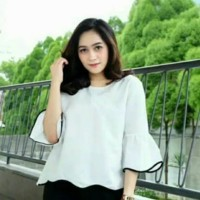 baju muslim wanita atasan blouse blus kemeja outfit tunik viora putih
