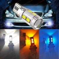 Lampu Mobil Super Bright 10 Led Socket T10 Car Lamp Bulb W Convex Lens