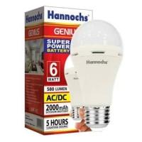 Lampu Bohlam LED Emergency Hannochs Genius 6W 6 Watt 6 W Baterai