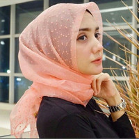 Hijab Segi Empat Rubi Dot Organza | Jilbab Rubi Polka Organdi