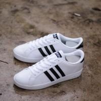 Sepatu Adidas Neo Baseline White Strip Black Original