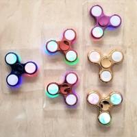 FIDGET SPINNER ORIGINAL Metalik Mainan anak  spiner lampu warna warni