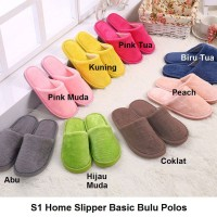 S1 Sendal Rumah Basic Bulu Polos Sandal Kamar Home Slipper Rumah - 40-41, Pink Tua