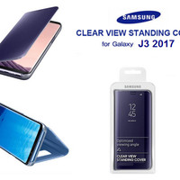 Casing Clear View Standing Cover Flip Mirror Samsung J3 2017 (OEM)