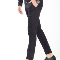 Celana Chino pria Panjang Simple Black ( Hitam )