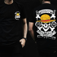 Kaos Anime One Piece Strawhat Pirates SHP Realistic Skull