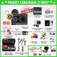 Paket 3 Way Xiaomi Yi Cam Black/Hitam International - Xiaoyi Yicam