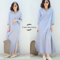Long Dress V neck maxi salur good quality fit to L besar