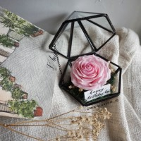 Mawar Pink Clay in Bronze Terrarium / Bunga Artificial / Kotak Cincin