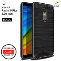 Peonia Carbon Shockproof Case Xiaomi Redmi 5 Plus 5.99 Inch - Black