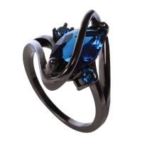 Cincin berlian biru zircon oval wanita