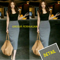 dress hitam abu / gaun pesta black gray / longdress / fashion murah
