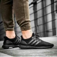 Sepatu pria Adidas Ultra Boost Full Black 3.0 Premium Original